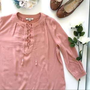 Madewell Lace-Up Peasant Top in Old Rose